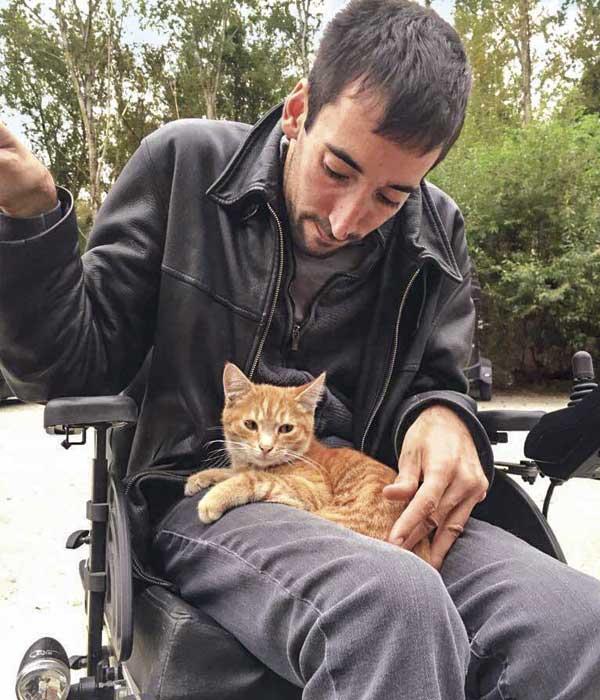 Rollstuhlfahrer mit Katze