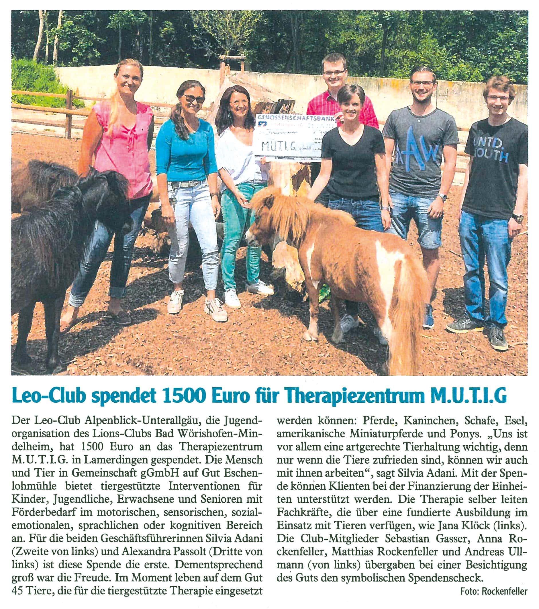 Pressebericht Allgaeuer Zeitung Buchloe Leo-Club